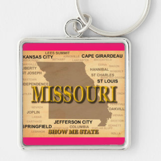 Antique Missouri State Pride Map Silhouette Keychain