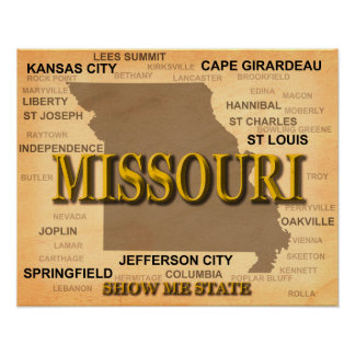 Antique Missouri State Pride Map Silhouette Posters