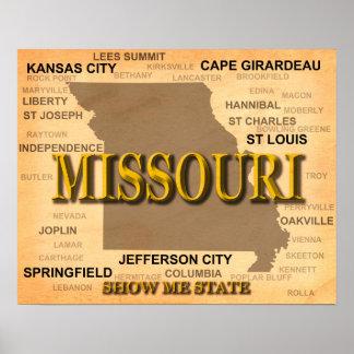 Antique Missouri State Pride Map Silhouette Poster
