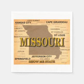 Antique Missouri State Pride Map Silhouette Paper Napkins