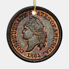 Antique Money 1861 Copper Confederate Penny Ceramic Ornament at Zazzle