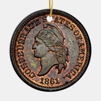 Antique Money 1861 Copper Confederate Penny Ceramic Ornament