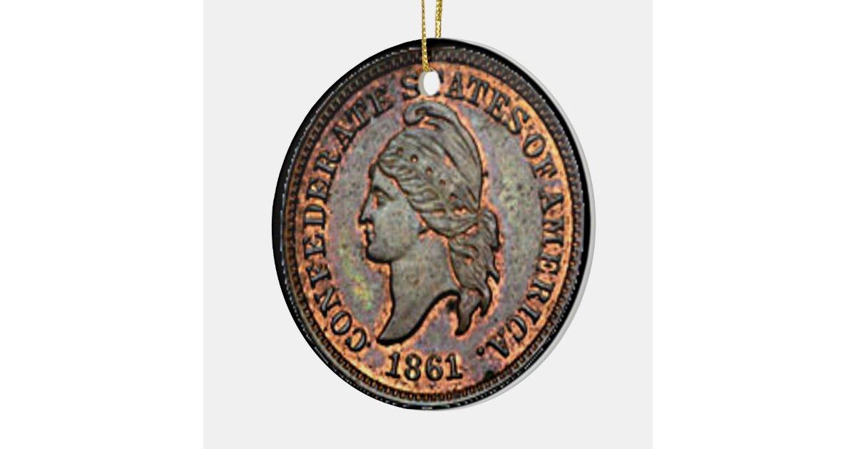 Antique Money 1861 Copper Confederate Penny Ceramic