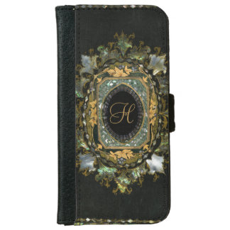 Antique Monogram Mother Of Pearl Wallet Phone Case For iPhone 6/6s