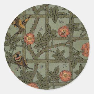 Antique Morris Trellis Wallpaper Classic Round Sticker