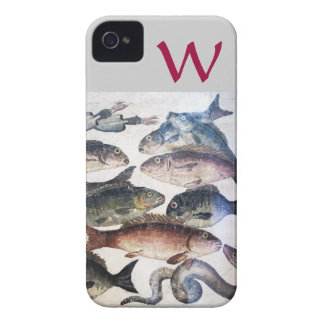 ANTIQUE MOSAIC FISHES,OCEAN SEA LIFE MONOGRAM Case-Mate iPhone 4 CASES