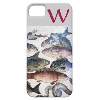 ANTIQUE MOSAIC FISHES,OCEAN SEA LIFE MONOGRAM iPhone SE/5/5s CASE