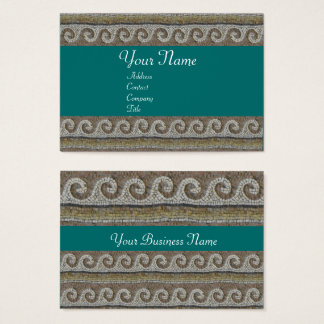 ANTIQUE MOSAIC WAVES Brown Blue Green Nautical Business Card