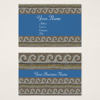 ANTIQUE MOSAIC WAVES Grey Brown Blue Nautical Business Card