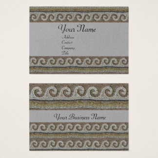 ANTIQUE MOSAIC WAVES Nautical Brown Grey Paper Business Card