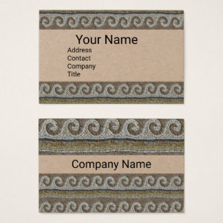 ANTIQUE MOSAIC WAVES Nautical Brown Kraft Paper Business Card