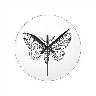 Antique Moth Illustration Sketch Round Clock