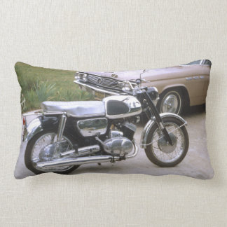 Antique Motorcycle on Driveway with Car Lumbar Pillow