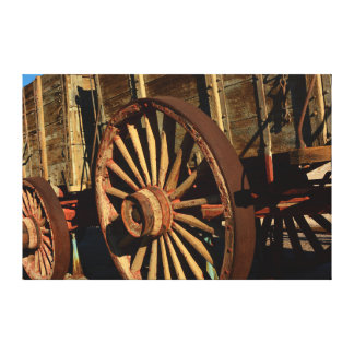 Antique mule train wagon canvas print