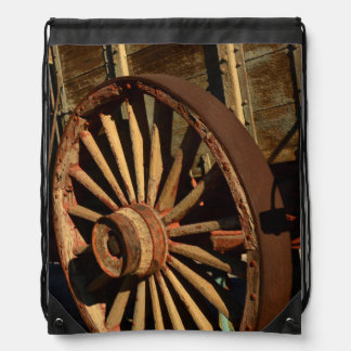 Antique mule train wagon drawstring bag