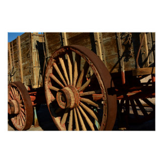 Antique mule train wagon poster