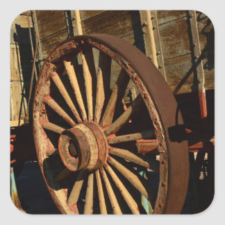 Antique mule train wagon square sticker