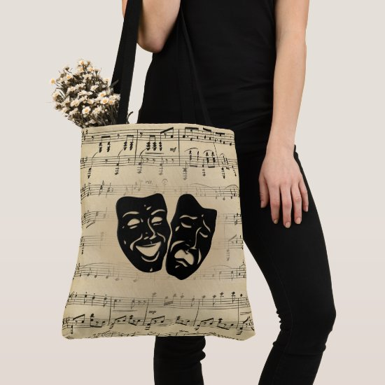 Antique Music and Theater Masks Tote Bag