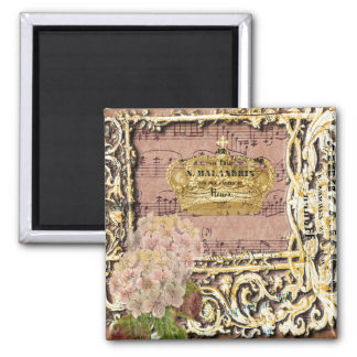 Antique Music French Gold Crown Collage 2 Inch Square Magnet