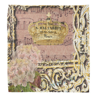 Antique Music French Gold Crown Collage Bandana