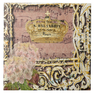 Antique Music French Gold Crown Collage Ceramic Tile