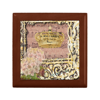 Antique Music French Gold Crown Collage Gift Box