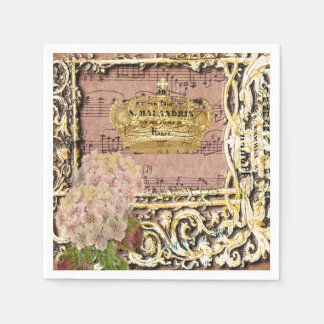 Antique Music French Gold Crown Collage Napkin
