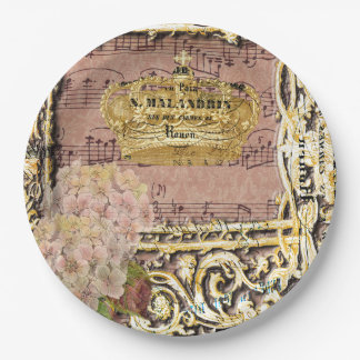 Antique Music French Gold Crown Collage Paper Plate