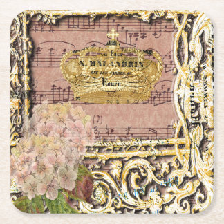Antique Music French Gold Crown Collage Square Paper Coaster