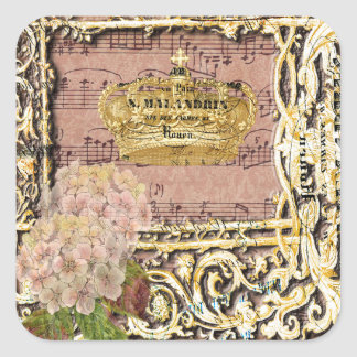Antique Music French Gold Crown Collage Square Sticker