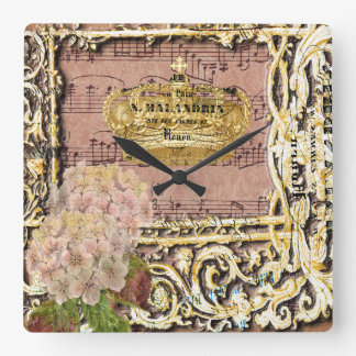 Antique Music French Gold Crown Collage Square Wall Clock