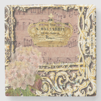 Antique Music French Gold Crown Collage Stone Coaster