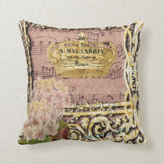 Antique Music French Gold Crown Collage Throw Pillow