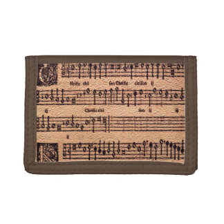 Antique MUSIC LOVER Gregorian Chant Sheet Music Tri-fold Wallet