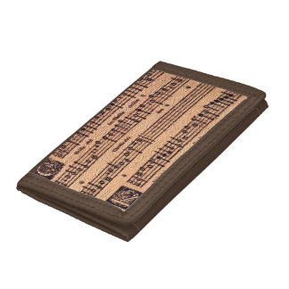 Antique MUSIC LOVER Gregorian Chant Sheet Music Trifold Wallet