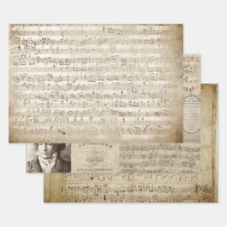 ANTIQUE MUSIC MANUSCRIPTS HEAVY WEIGHT DECOUPAGE WRAPPING PAPER SHEETS