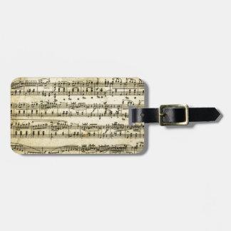Antique Music Score Sheet Bag Tag