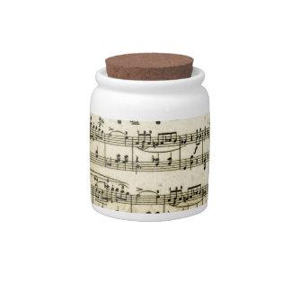 Antique Music Score Sheet Candy Jars