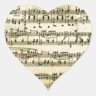 Antique Music Score Sheet Heart Sticker