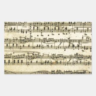 Antique Music Score Sheet Rectangular Sticker