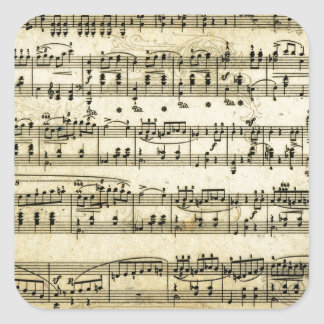 Antique Music Score Sheet Square Sticker