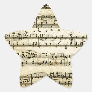 Antique Music Score Sheet Star Sticker
