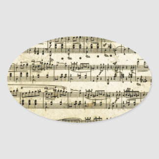 Antique Music Score Sheet Oval Sticker