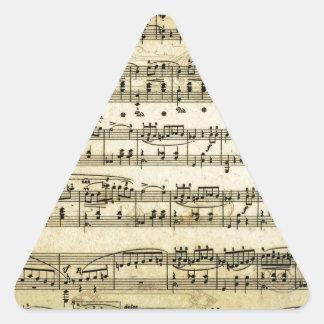 Antique Music Score Sheet Triangle Sticker