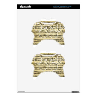 Antique Music Score Sheet Xbox 360 Controller Skin