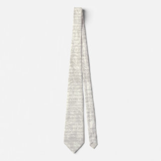 Antique Music Sheet Gray Floral Tie