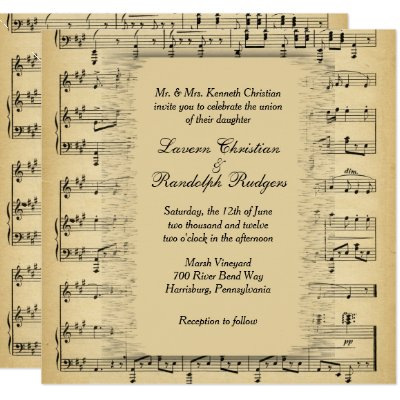 Antique Music Theme Wedding Invitation