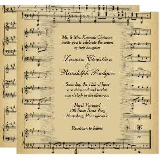 Antique Music Theme Wedding Invitation
