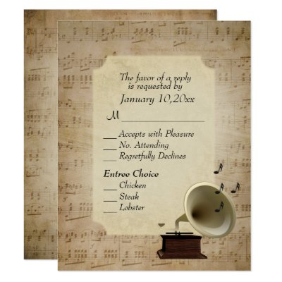 Antique Music Theme with Entree Choices Invitation