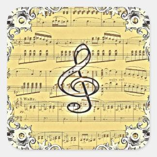 Antique Music Treble Clef Vintage Design Square Sticker